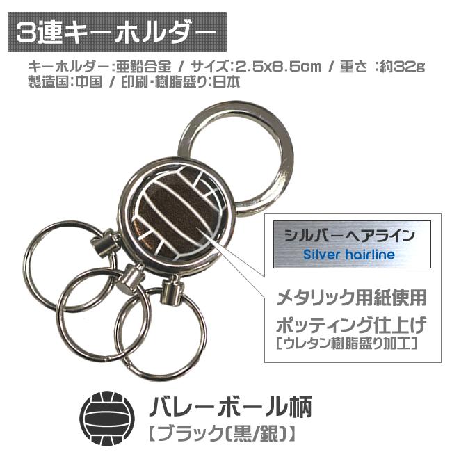 3連キーホルダー・バレーボール柄 黒銀