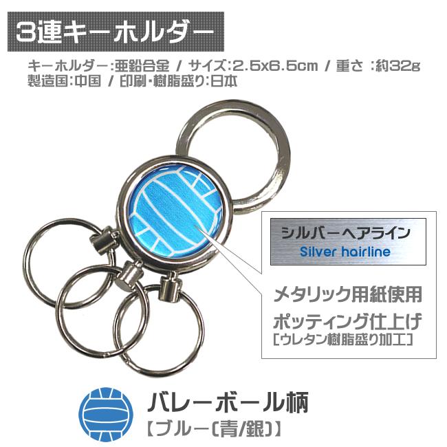 3連キーホルダー・バレーボール柄 青銀