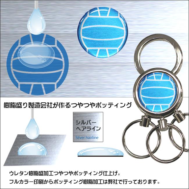 3連キーホルダー・バレーボール柄 樹脂