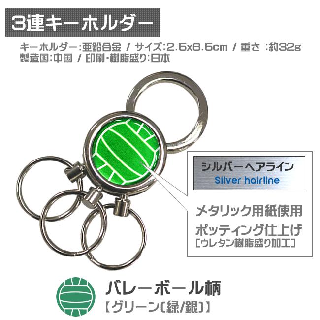 3連キーホルダー・バレーボール柄 緑銀
