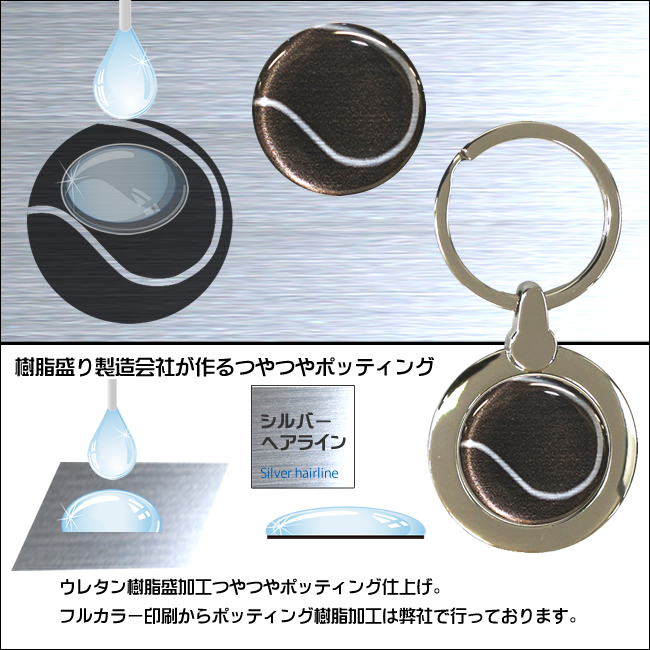 円形キーホルダー テニスボール柄(リュックサック)
