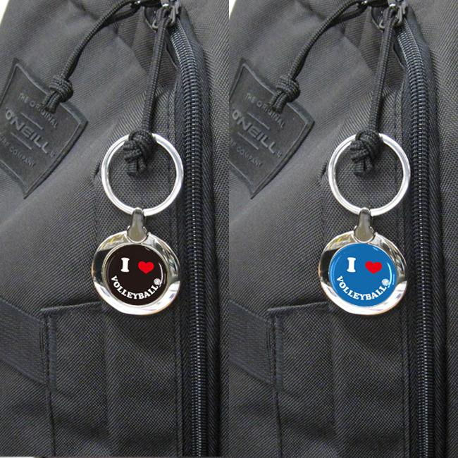 丸型キーホルダー バレー(ブラックかブルー)使用例1
