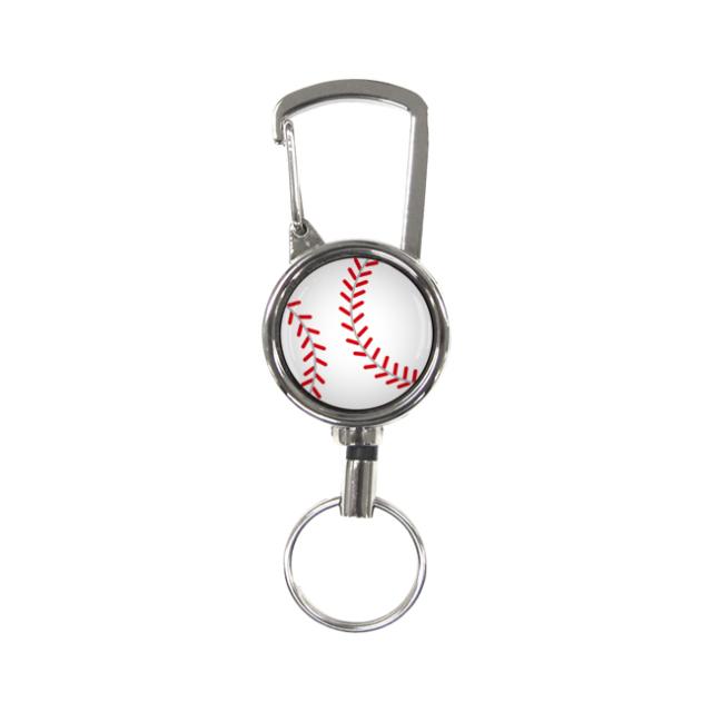 シルバーリールキーホルダー 野球柄
