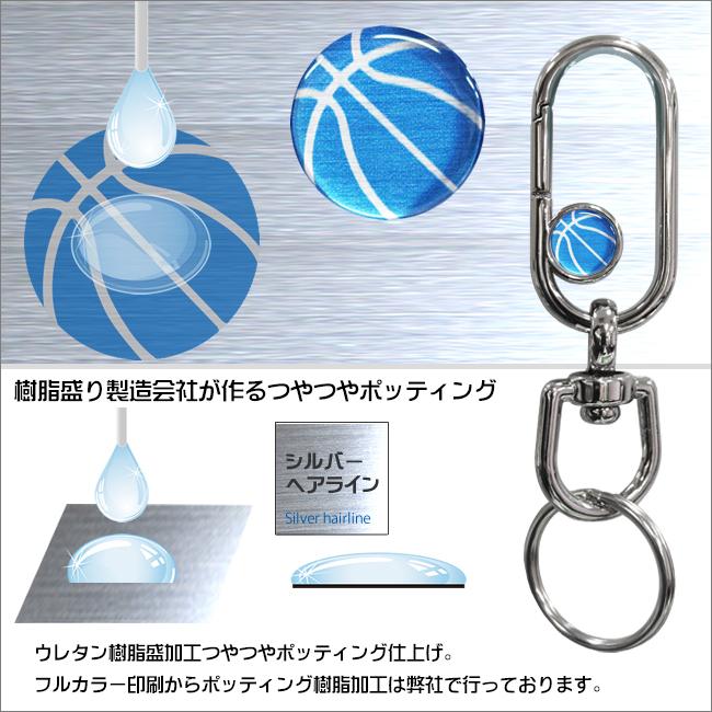 バスケットボール柄ナスカンキーホルダー 樹脂盛りポッティング